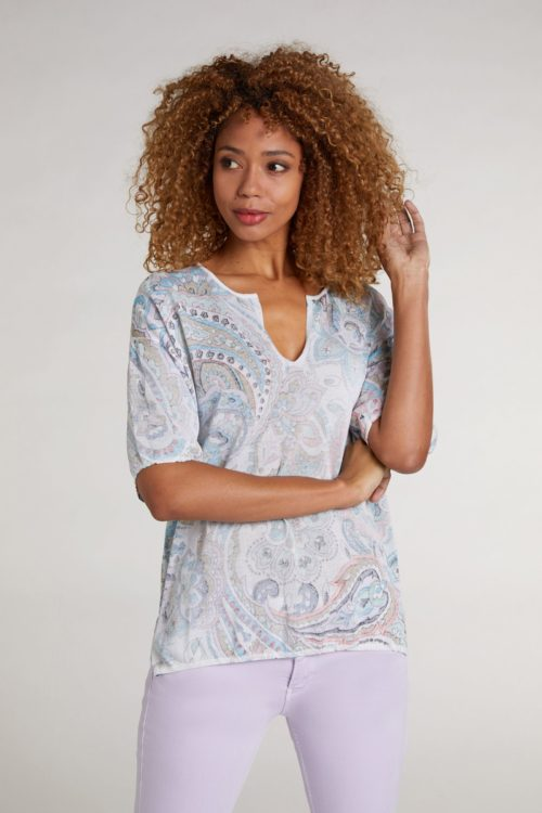 OUI Paisley Print Top With Open Neck