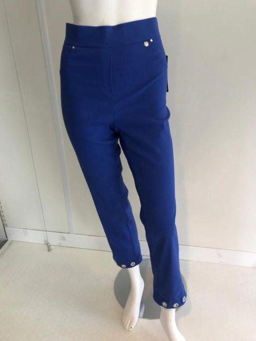 ROBELL Royal Blue Crop Trousers With Silver Eyelets