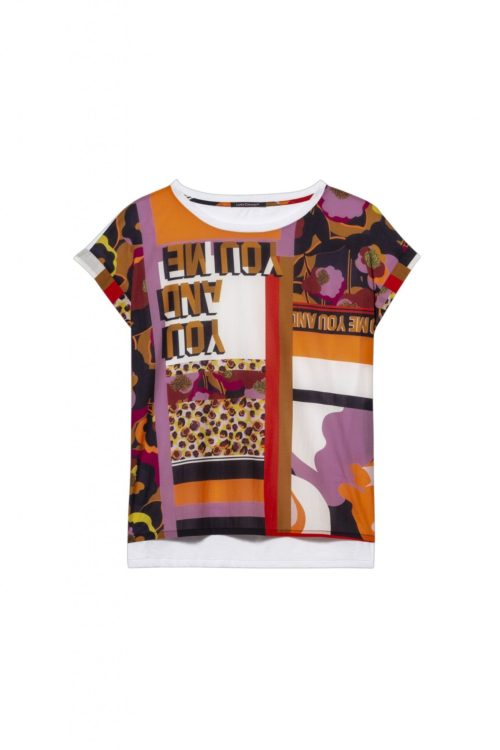 LUISA CERANO Cotton Top With Bright Print Front