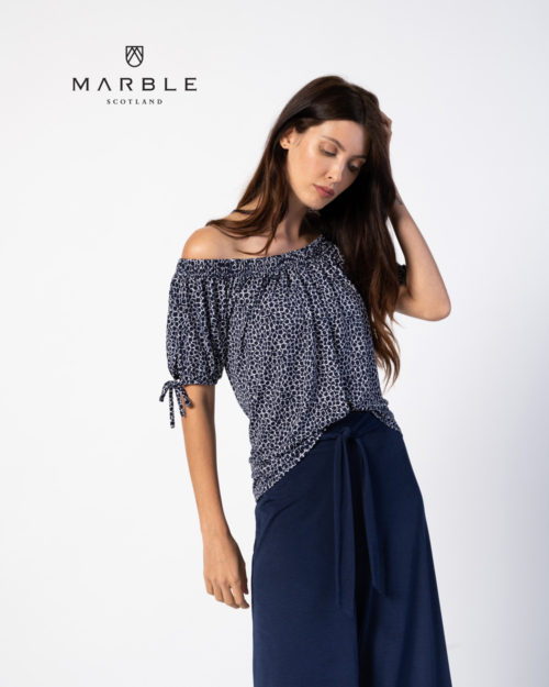 MARBLE Off The Shoulder Abstract Print Top