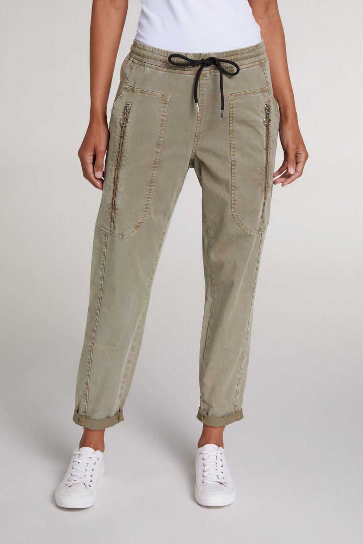 OUI Khaki Zip Trousers With Drawstring