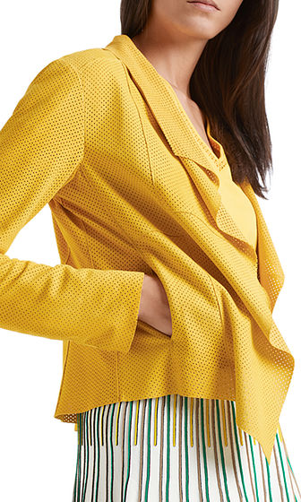 MARC CAIN Yellow Leather Jacket