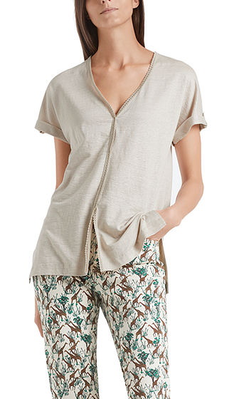 MARC CAIN Sand Linen Blend Top With Embroidery