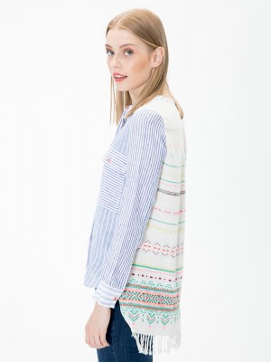 VILAGALLO Stripe Shirt With Embroidery