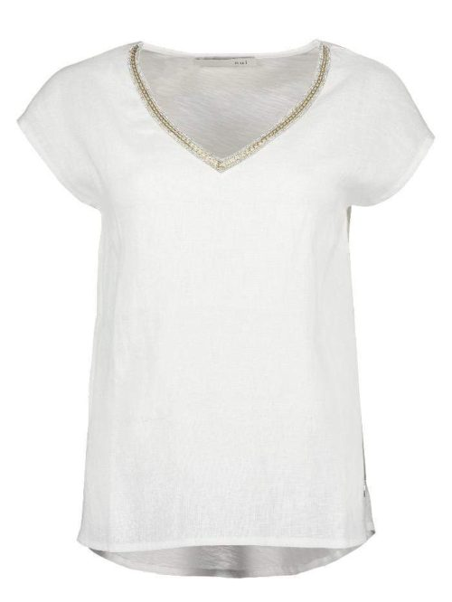 OUI Off-White Linen Top With Cotton Back
