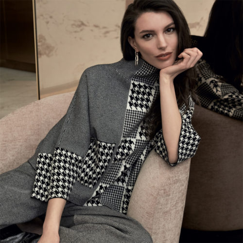 JOSEPH RIBKOFF Easy Fit Houndstooth Knit