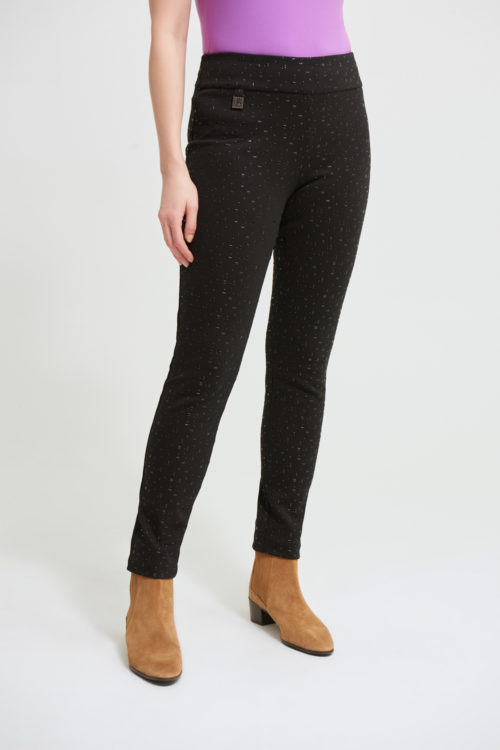 JOSEPH RIBKOFF Black Knit Trousers With Embossed Detail