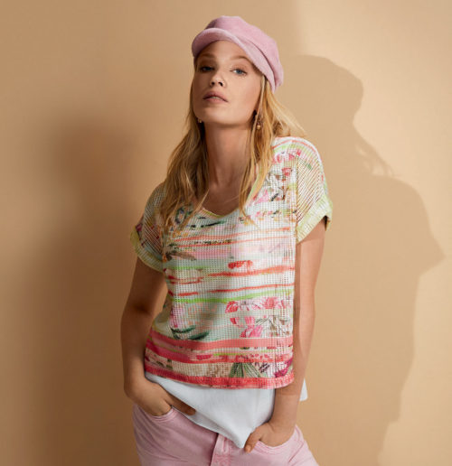 JUST WHITE Abstract Print Layered Top