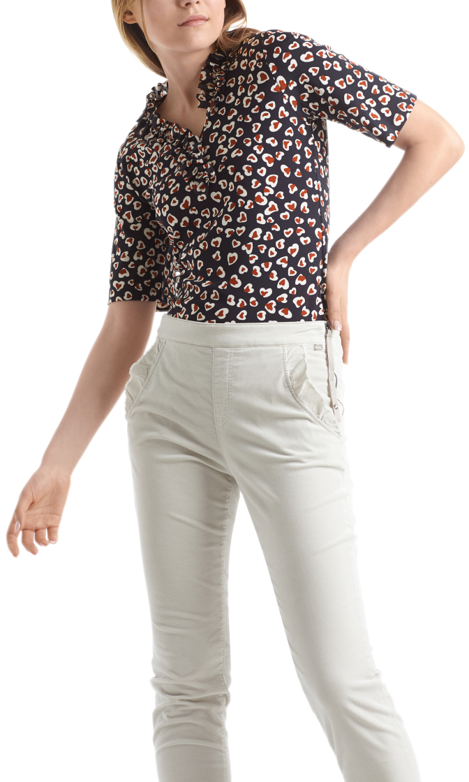 MARC CAIN Print Top With Ruffle Neck