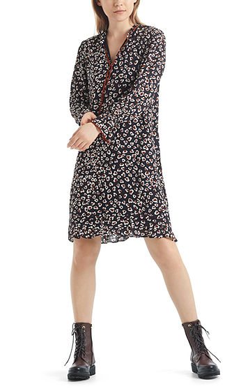 MARC CAIN Print Dress With Tie Neck
