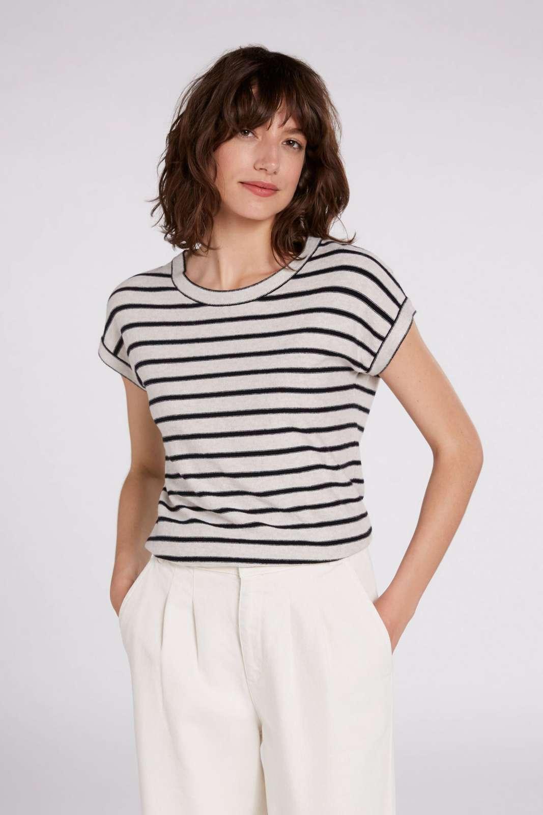 OUI Striped Knit Top