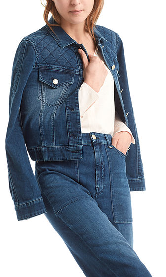 MARC CAIN Diamond-Quilted Denim Jacket