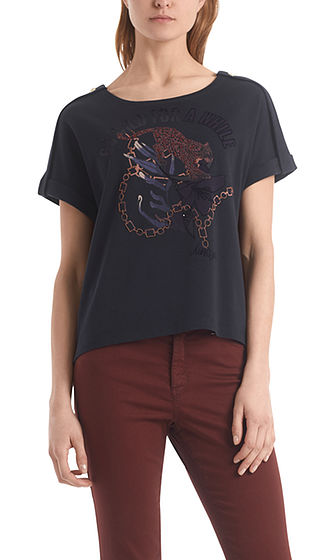 MARC CAIN Decorated Leopard Print Top