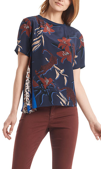 MARC CAIN Floral & Leopard Print Top With Silk