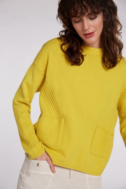 OUI Relaxed Rib Detail Knit In Acid Yellow