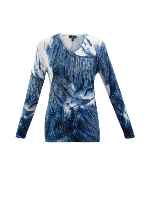 MARBLE Blue Abstract Print Fine Knit