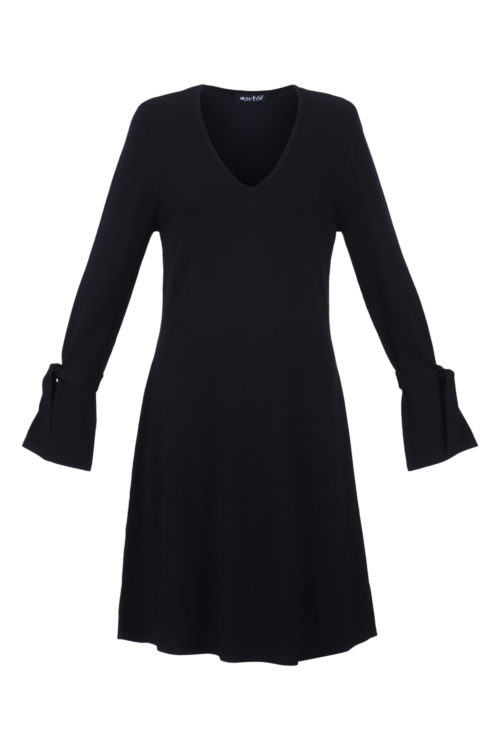 MARBLE Black Knit Dress With Tie Detail