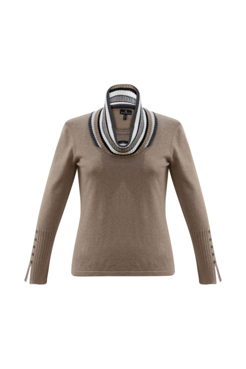 MARBLE Fine Knit With Detachable Striped Neck Detail