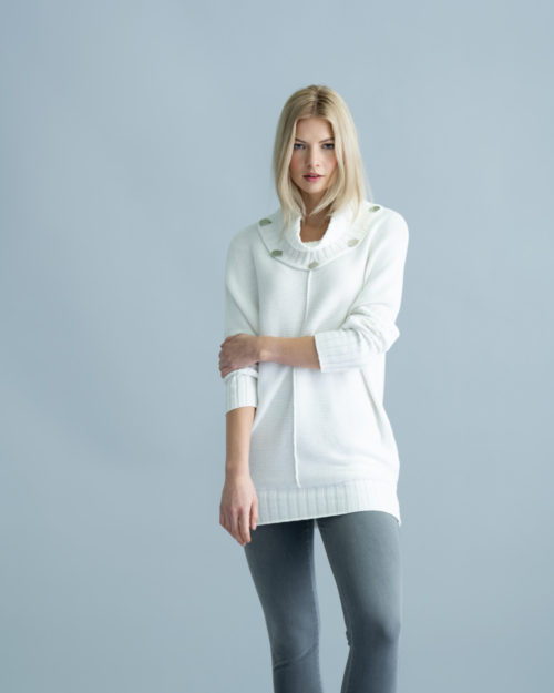 MARBLE Off-White Cotton Knit With Silver Button Detail