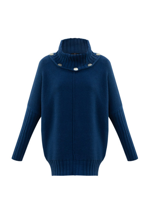 MARBLE Marine Cotton Knit With Silver Button Detail