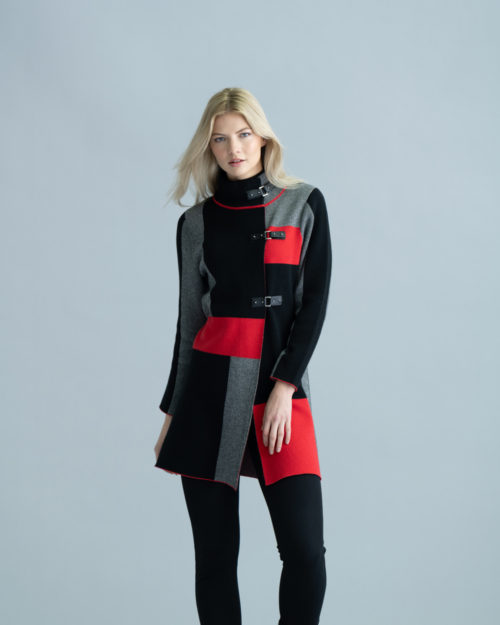 MARBLE Knit Coat With Buckle Detail In Paprika