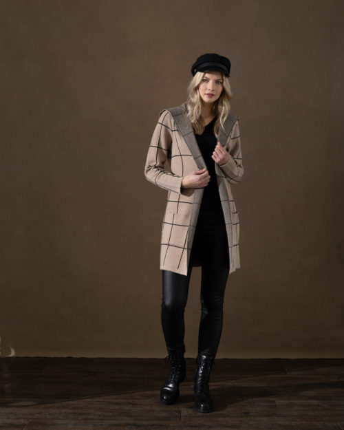 MARBLE Camel Check Knit Coat