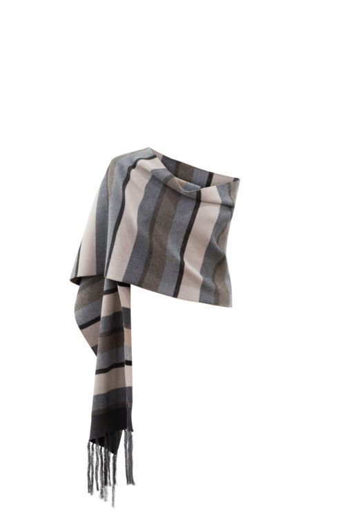 MARBLE Striped Knit Scarf In Camel