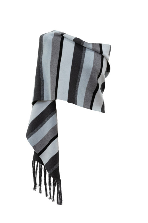 MARBLE Striped Knit Scarf In Ice Blue