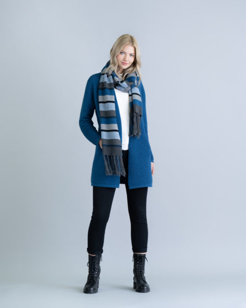MARBLE Striped Knit Scarf In Marine