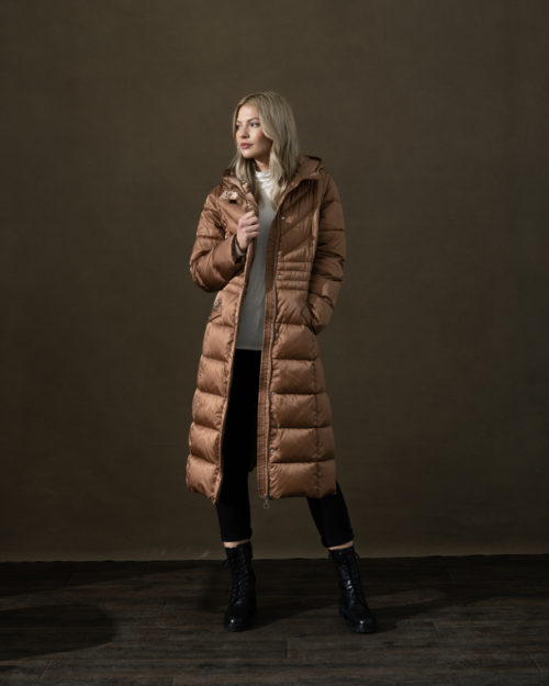 MARBLE 2-in-1 Long Tan Quilted Coat
