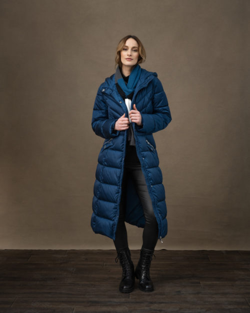 MARBLE 2-in-1 Long Blue Quilted Coat