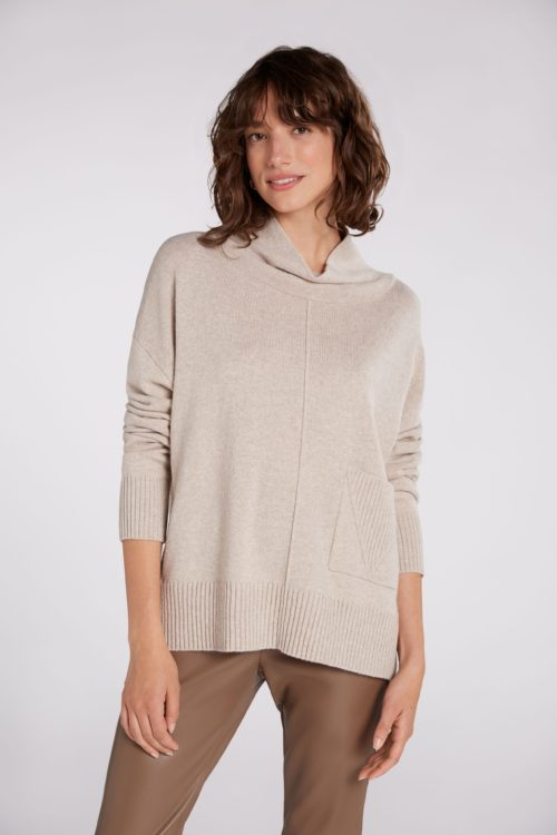 OUI Relaxed Cowl Neck Knit In Stone