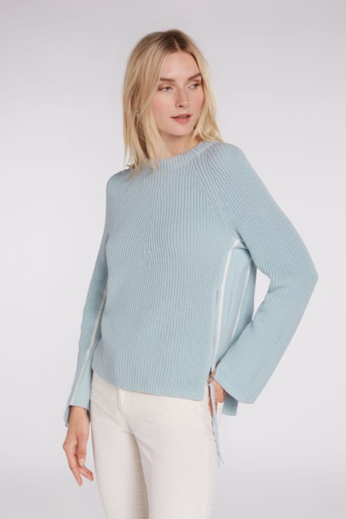OUI Duck Egg Cotton Rib Knit With Zip Detail