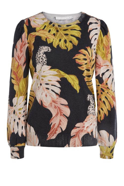 OUI Autumn Print Knit With Animal Details