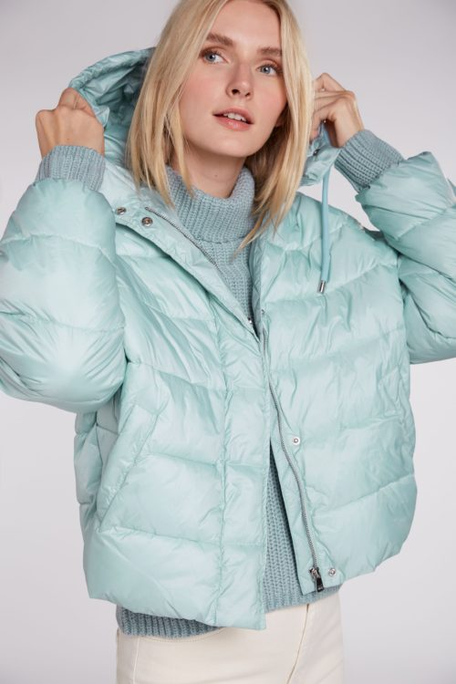 OUI Duck Egg Quilted Jacket With Hood