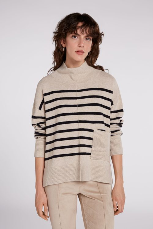 OUI Relaxed Cowl Neck Striped Knit