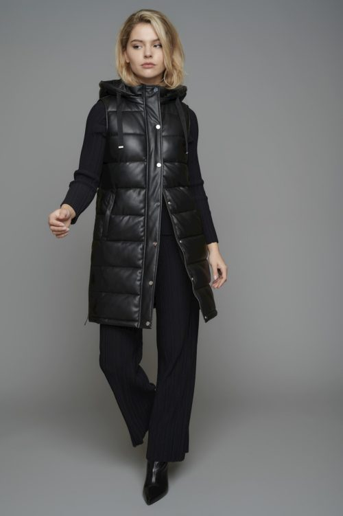 RINO & PELLE Faux Leather Quilted Gilet