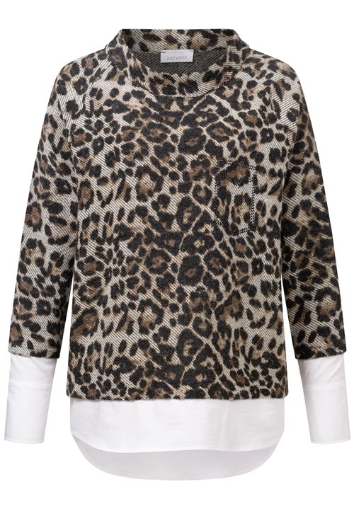 JUST WHITE Animal Knit With Shirt Details