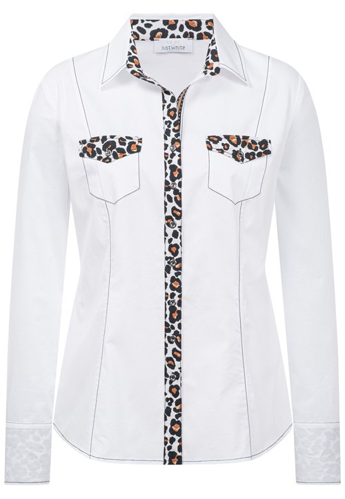 JUST WHITE Shirt With Animal Print Detail