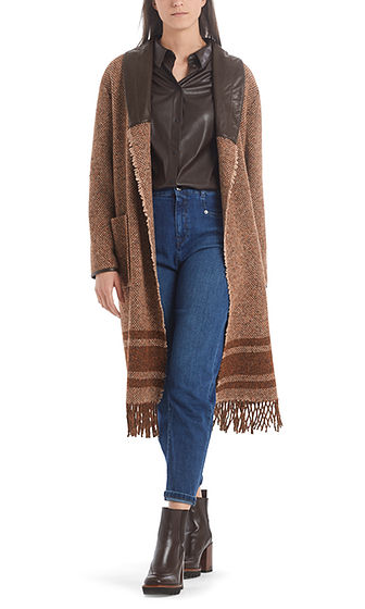 MARC CAIN Woven Coat With Fringe Detail