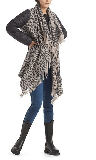 MARC CAIN Cape Style Coat With Fringe Detail