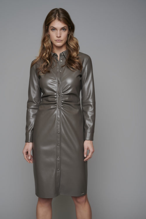 RINO & PELLE Ruched Faux Leather Dress