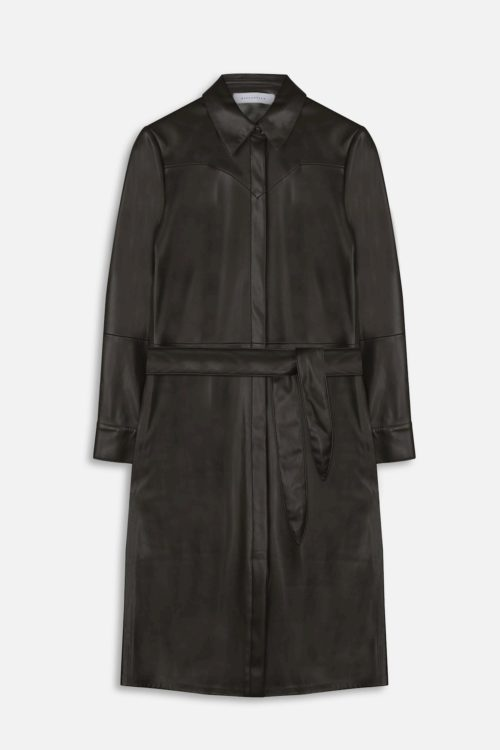 RINO & PELLE Belted Faux Leather Dress