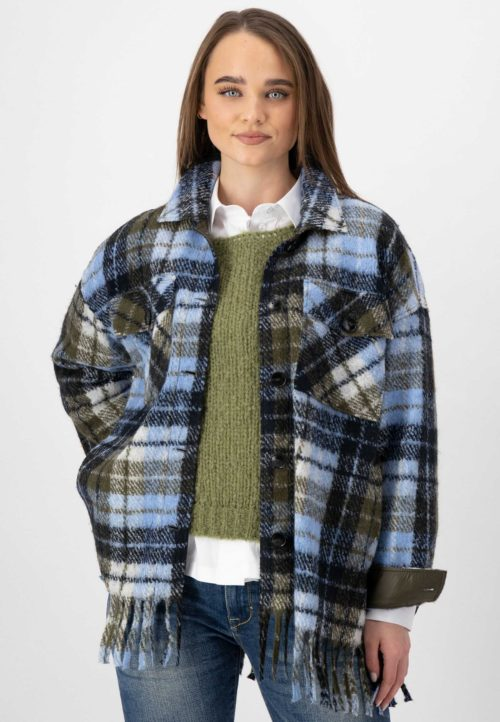 JUST WHITE Check Shacket With Tassels