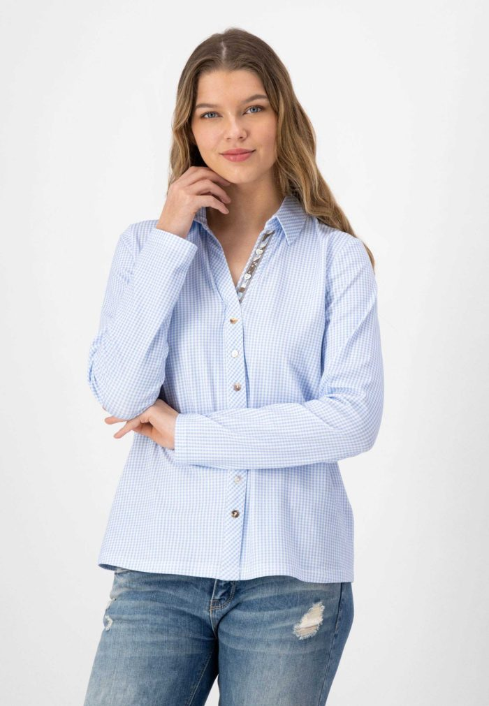 JUST WHITE Gingham Shirt-Style Top