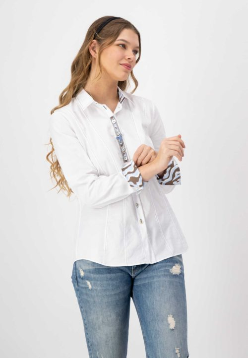 JUST WHITE Cotton Shirt With Print Detail