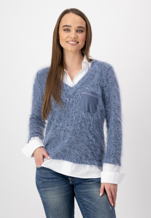 JUST WHITE Shirt-Style Furry Knit