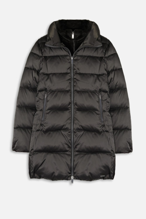 RINO & PELLE Black Olive Padded Coat With Faux Fur