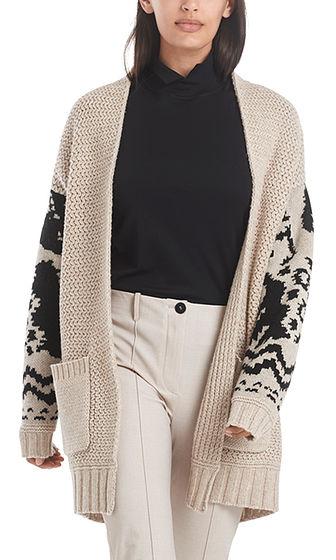 MARC CAIN Norwegian Print Wool Knit Jacket